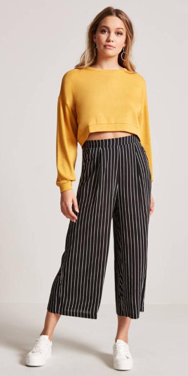 black-culottes-pants-vertical-stripe-earrings-yellow-sweater-sweatshirt-white-shoe-sneakers-spring-summer-blonde-weekend.jpg