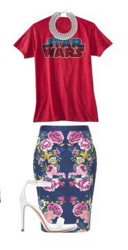 blue-navy-pencil-skirt-floral-print-white-shoe-sandalh-necklace-dressedup-red-graphic-tee-starwars-spring-summer-dinner.jpg
