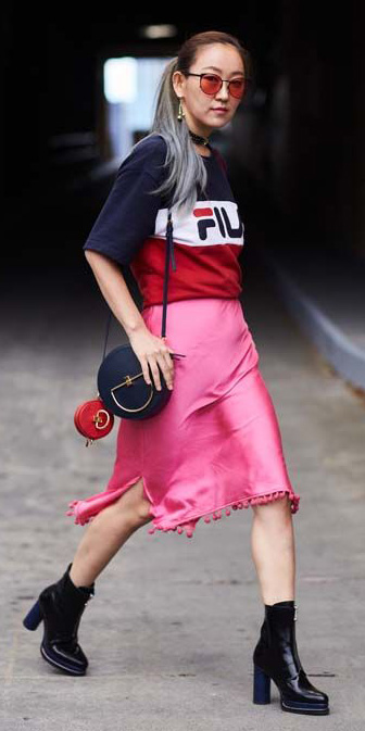 pink-magenta-midi-skirt-satin-black-bag-sun-pony-black-shoe-booties-red-graphic-tee-spring-summer-lunch.jpg