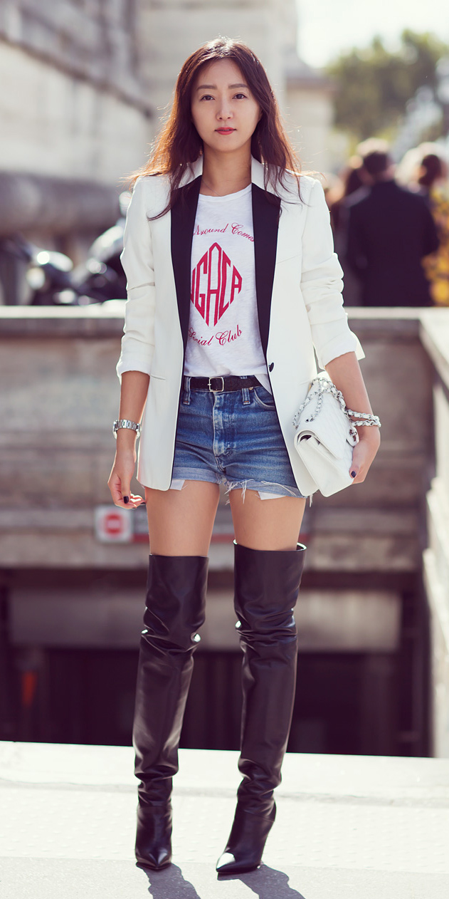 blue-med-shorts-denim-belt-cutoff-white-graphic-tee-tuxedo-black-shoe-boots-otk-white-bag-white-jacket-blazer-fall-winter-brun-lunch.jpg