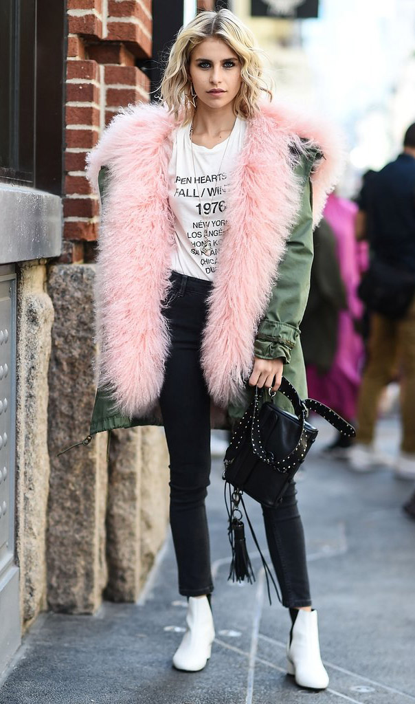 black-skinny-jeans-white-graphic-tee-blonde-lob-black-bag-white-shoe-booties-colored-fur-pink-green-olive-jacket-coat-parka-fall-winter-outfit-lunch.jpg