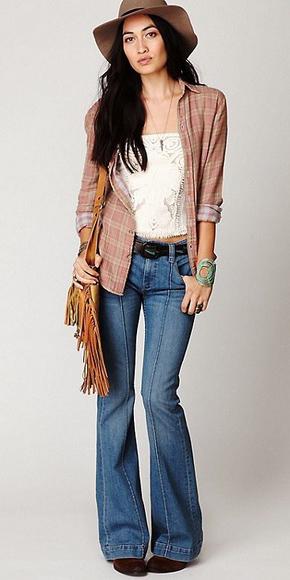 blue-med-flare-jeans-white-cami-belt-pink-light-plaid-shirt-hat-cognac-bag-fringe-brown-shoe-booties-fall-winter-brun-weekend.jpg