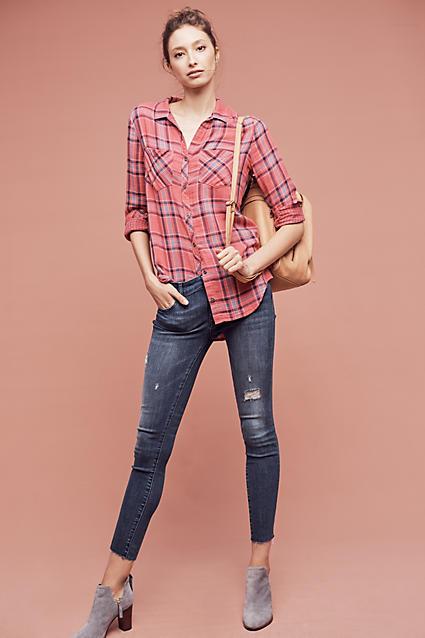 blue-navy-skinny-jeans-r-pink-light-plaid-shirt-wear-outfit-fashion-fall-winter-gray-shoe-booties-bun-tan-bag-hairr-weekend.jpg