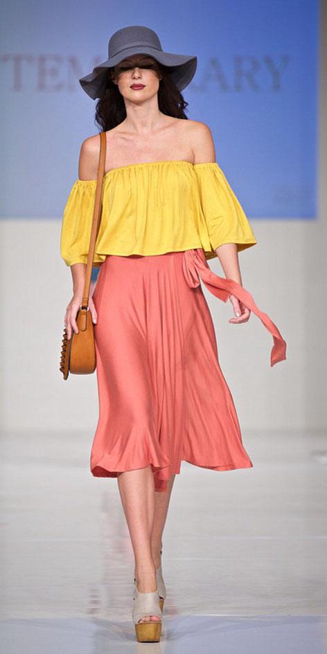 43d4a15e737 peach-midi-skirt-yellow-top-blouse-offshoulder-hat-