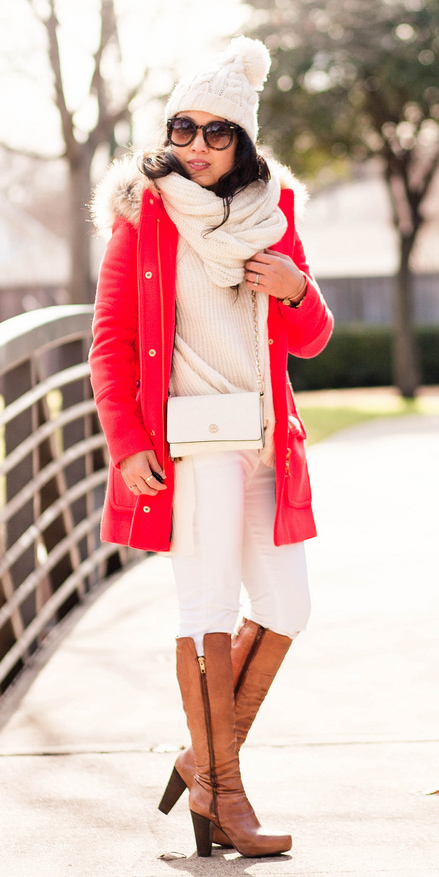 how-to-style-white-skinny-jeans-cognac-shoe-boots-white-bag-white-scarf-red-jacket-coat-parka-brun-beanie-white-scarf-fall-winter-fashion-weekend.jpg