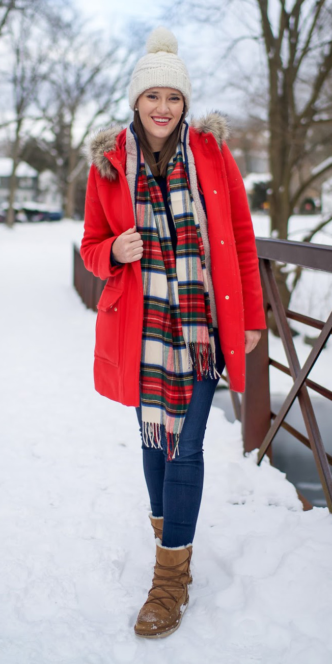 blue-navy-skinny-jeans-snow-red-scarf-plaid-print-hairr-beanie-cognac-shoe-booties-red-jacket-coat-parka-fall-winter-outfit-weekend.jpg