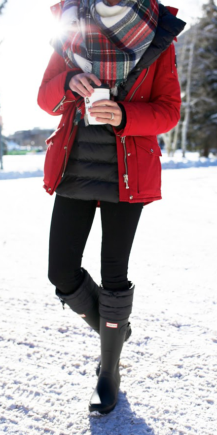 black-shoe-boots-rain-snow-wellies-red-scarf-plaid-print-red-jacket-coat-parka-fall-winter-outfit-weekend.jpg