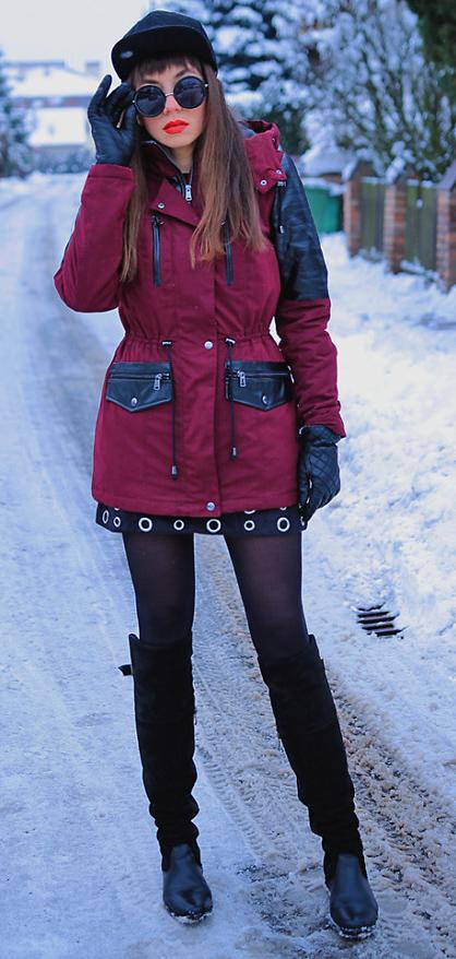 black-mini-skirt-gloves-snow-black-tights-hairr-hat-black-top-black-shoe-boots-burgundy-jacket-coat-parka-fall-winter-outfit-lunch.jpg