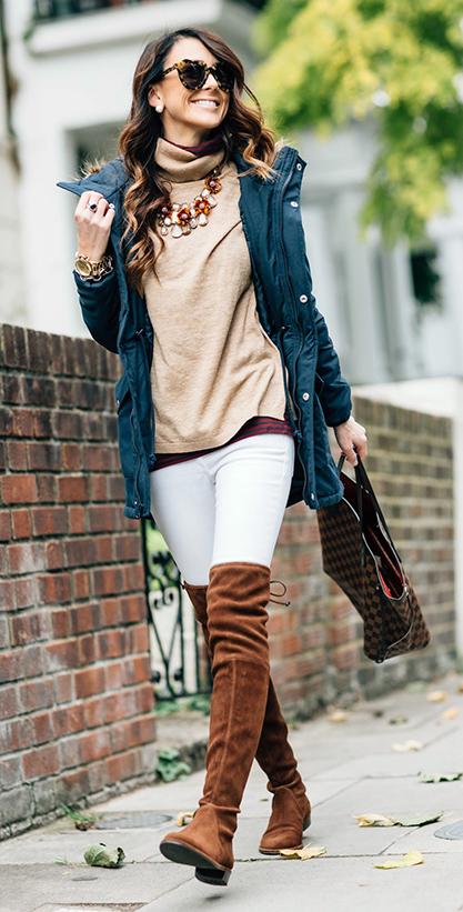 white-skinny-jeans-tan-sweater-turtleneck-layer-bib-necklace-sun-brun-studs-brown-bag-cognac-shoe-boots-otk-blue-navy-jacket-coat-parka-fall-winter-lunch.jpg