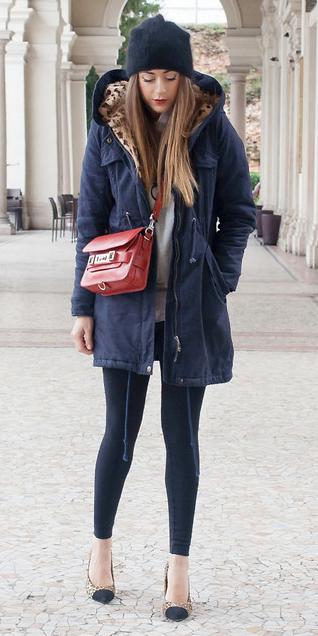 black-leggings-red-bag-tan-shoe-pumps-leopard-print-hairr-beanie-blue-navy-jacket-coat-parka-fall-winter-lunch.jpg