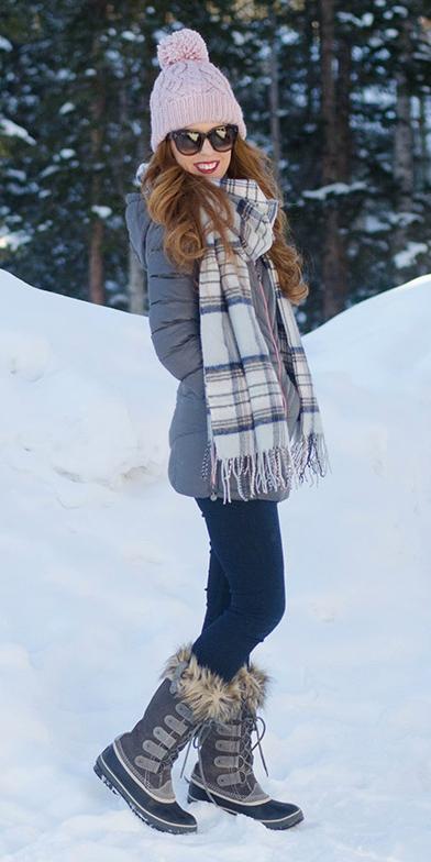 white-scarf-plaid-print-beanie-hairr-sun-snow-grayd-jacket-coat-parka-fall-winter-weekend-ski-style.jpg