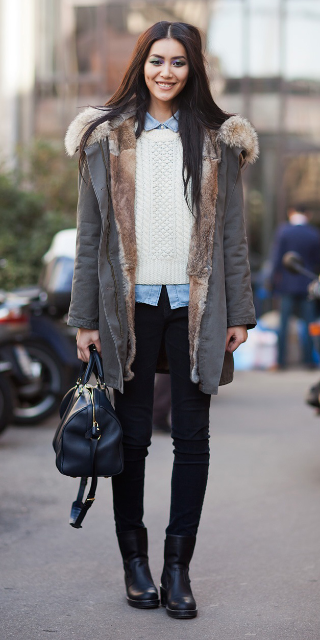 black-skinny-jeans-white-sweater-blue-light-collared-shirt-brun-black-bag-black-shoe-booties-layer-grayd-jacket-coat-parka-fall-winter-outfit-lunch.jpg