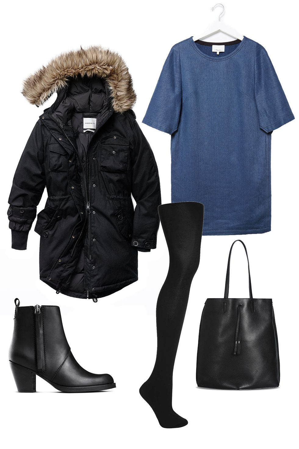how-to-style-blue-med-dress-tshirt-black-jacket-coat-parka-black-tights-black-bag-tote-black-shoe-booties-fall-winter-fashion-work.jpg