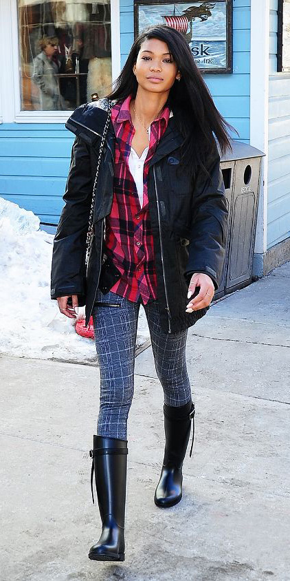 grayd-skinny-jeans-red-plaid-shirt-chaneliman-black-shoe-boots-parka-black-jacket-coat-puffer-fall-winter-snow-brun-weekend.jpg