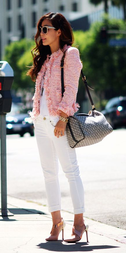 white-skinny-jeans-pink-shoe-pumps-brun-sun-tweed-chanel-pink-light-jacket-lady-spring-summer-lunch.jpg