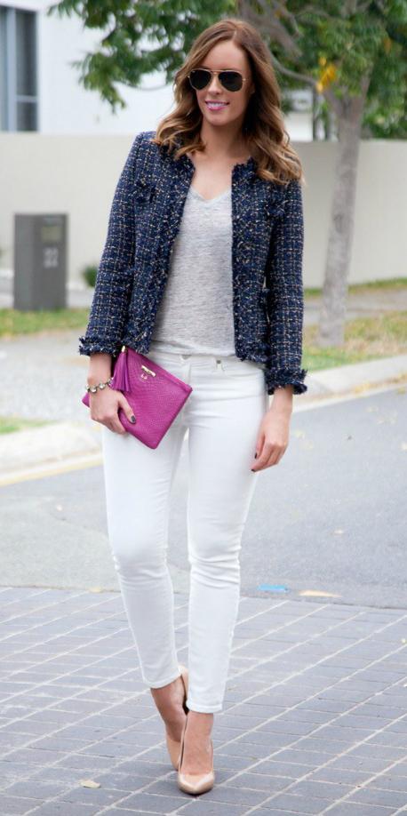 white-skinny-jeans-grayl-tee-tan-shoe-pumps-sun-hairr-blue-navy-jacket-lady-fall-winter-lunch.jpg
