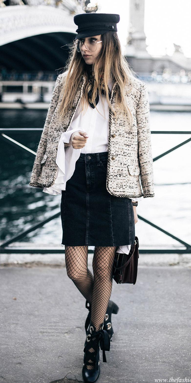 black-mini-skirt-denim-black-tights-fishnet-hat-blonde-white-top-black-shoe-pumps-tweed-white-jacket-lady-fall-winter-lunch.jpg