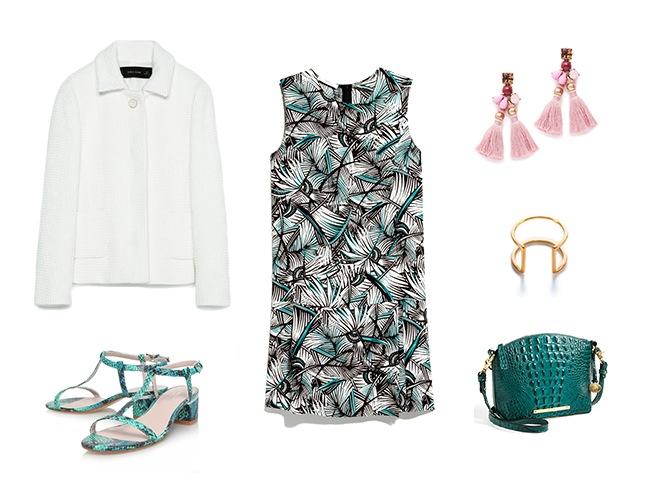 black-dress-print-mini-white-jacket-lady-pink-earrings-bracelet-green-bag-green-shoe-sandals-spring-summer-wedding-dinner.jpg
