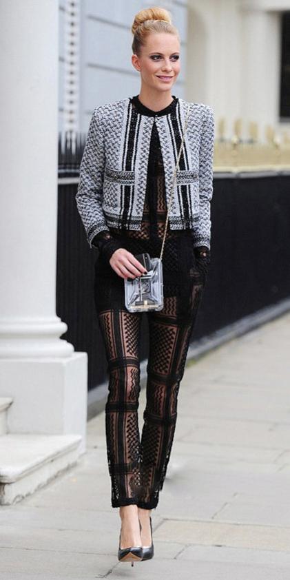 black-jumpsuit-sheer-seethrough-blonde-bun-black-shoe-pumps-grayl-jacket-lady-fall-winter-dinner.jpg