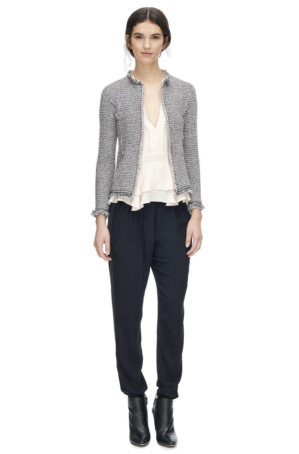 black-joggers-pants-white-top-blouse-brun-black-shoe-booties-grayl-jacket-lady-fall-winter-lunch.jpg