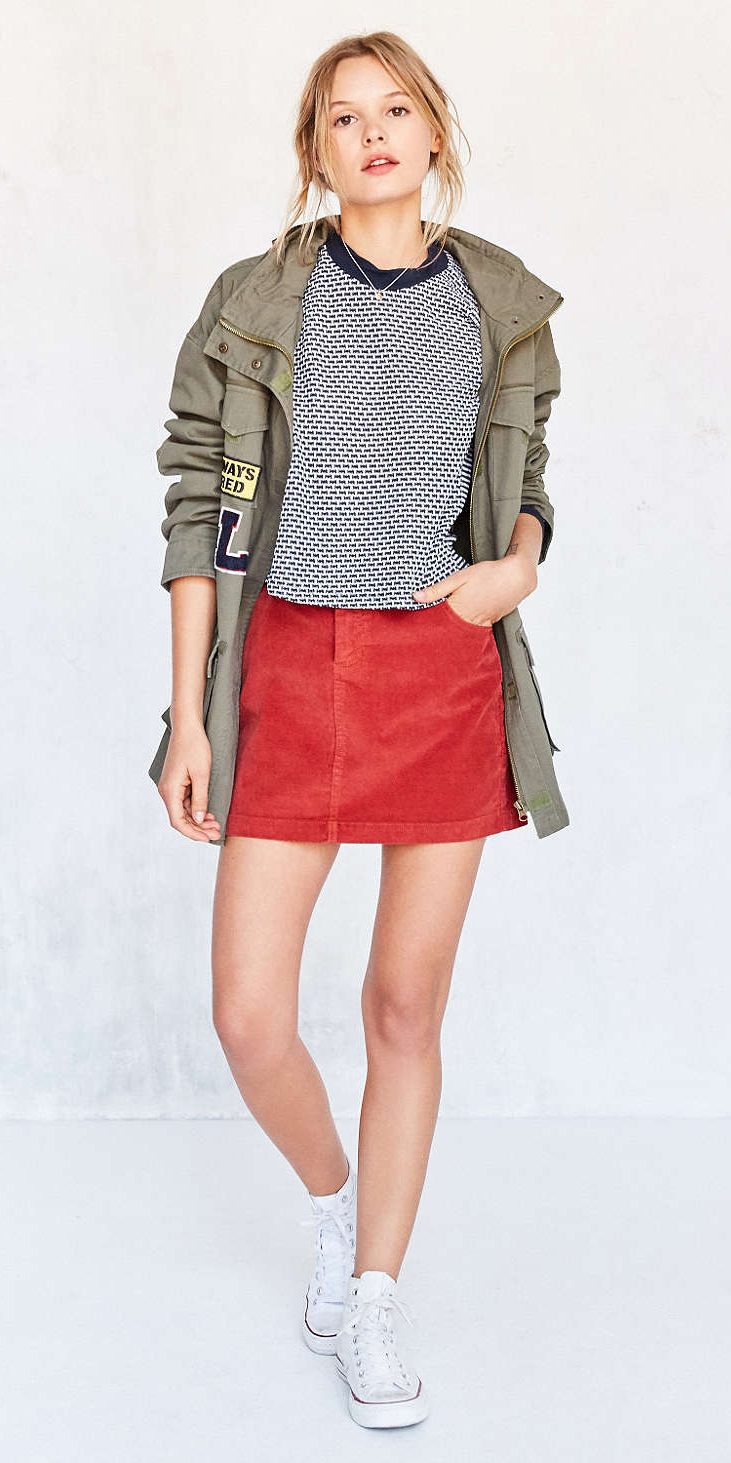 563965db5 Olive Green Mini Skirt Outfit