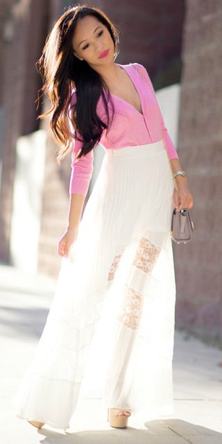 425ce85db5 pink-light-cardigan-brun-howtowear-fashion-white-maxi-