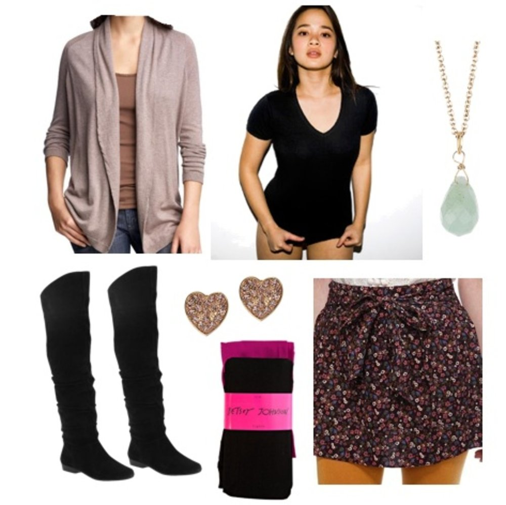 3da9904b41 black-mini-skirt-floral-print-necklace-pend-studs-