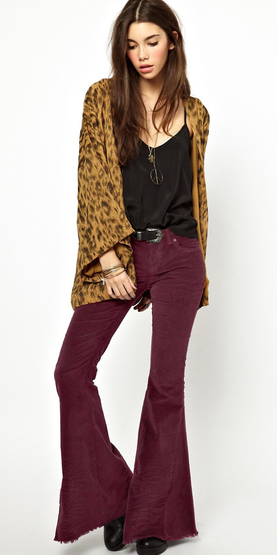 cb81394e76 burgundy-flare-jeans-belt-black-cami-tan-cardigan-