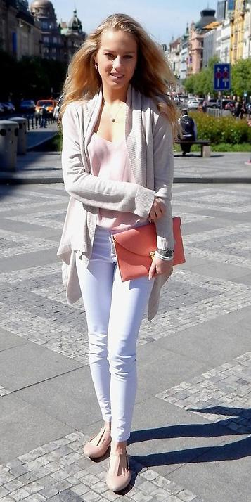 88946b7eb2f white-skinny-jeans-white-cardiganl-pink-shoe-flats-
