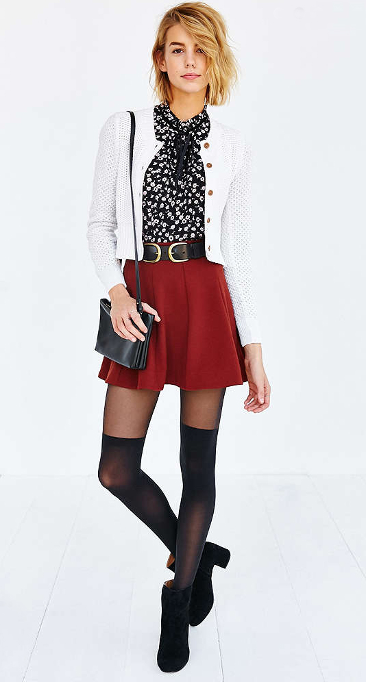 bae6a0111d3 red-mini-skirt-black-top-blouse-wide-belt-