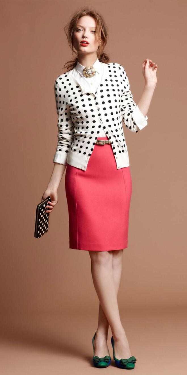 bea6bbc826e pink-magenta-pencil-skirt-white-cardigan-dot-print-