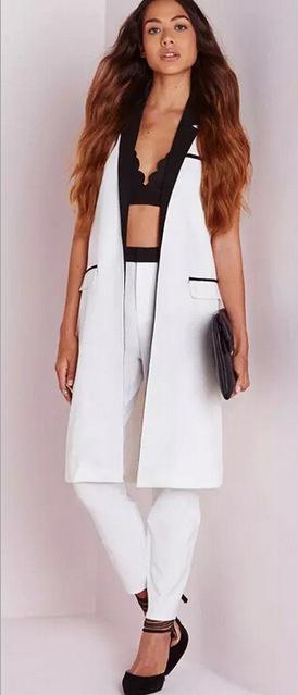 e77ca660db white-slim-pants-black-bralette-brun-white-vest-