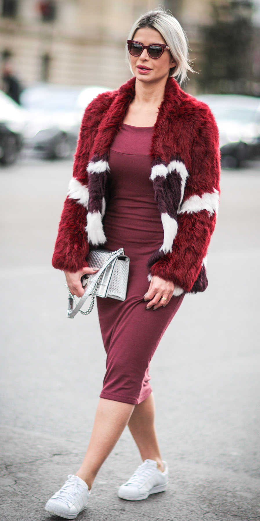 red-dress-bodycon-gray-bag-white-shoe-sneakers-blonde-sun-red-jacket-coat-fur-fall-winter-weekend.jpg