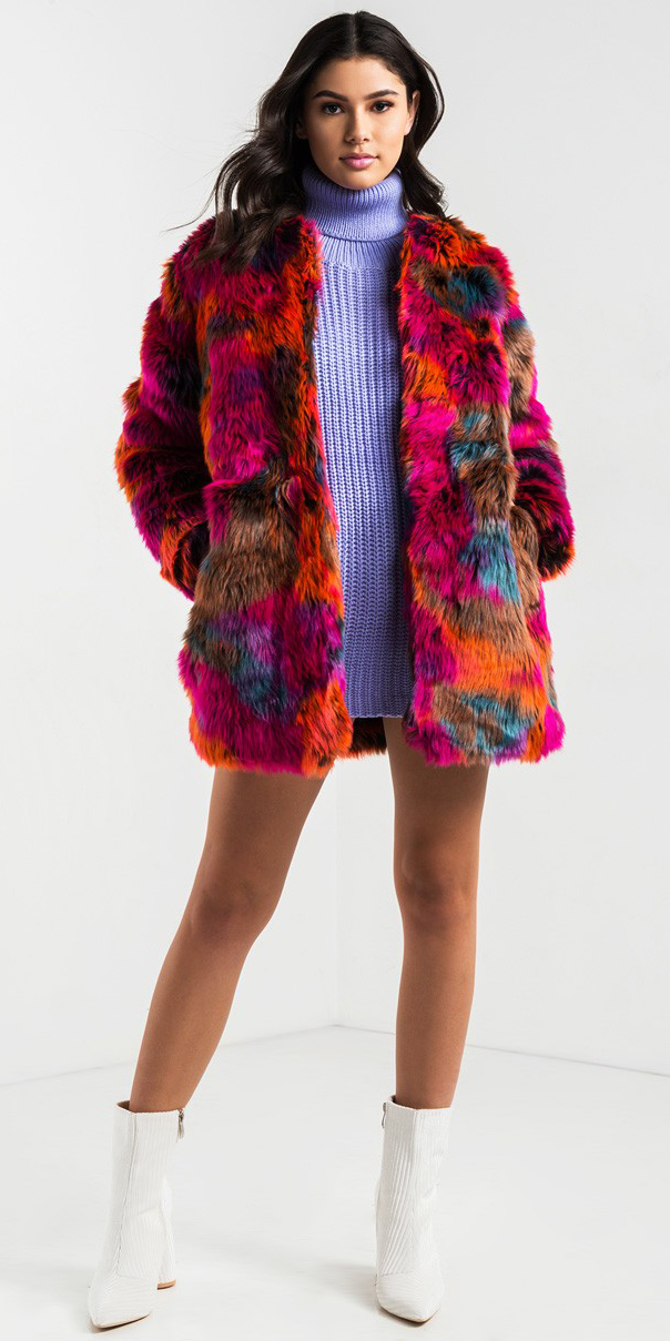 red-jacket-coat-fur-purple-light-dress-sweater-turtleneck-white-shoe-booties-brun-fall-winter-dinner.jpg