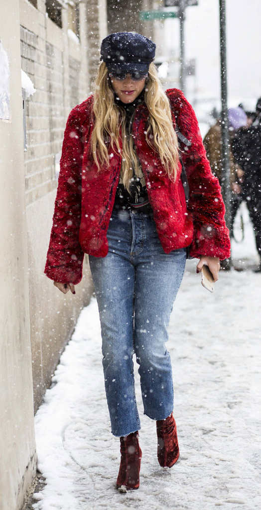 blue-med-crop-jeans-red-shoe-booties-newsboy-hat-sun-snow-red-jacket-coat-fur-fuzz-fall-winter-blonde-lunch.jpg