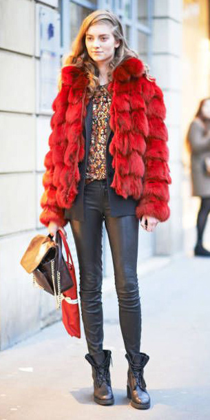 black-skinny-jeans-leather-black-shoe-booties-black-bag-layer-red-jacket-coat-fur-fuzz-fall-winter-hairr-lunch.jpg
