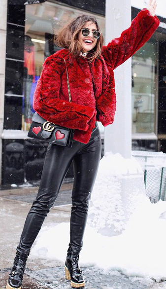 black-skinny-jeans-leather-black-shoe-booties-sun-black-bag-red-jacket-coat-fur-fuzz-fall-winter-hairr-lunch.jpg