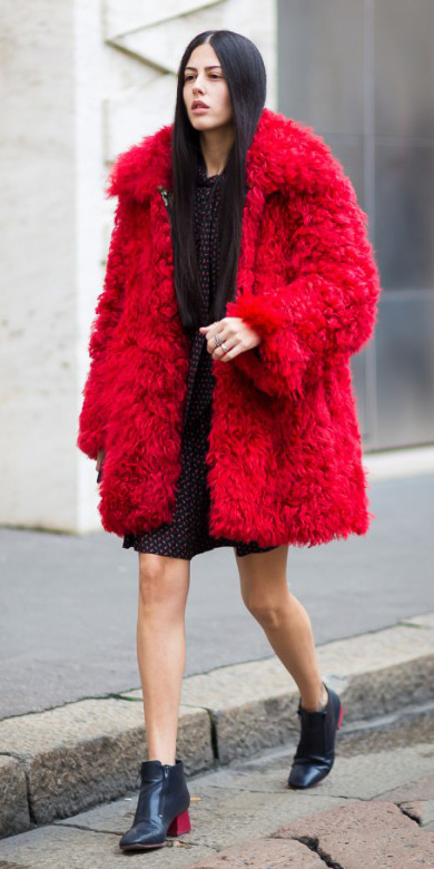 black-dress-mini-black-shoe-booties-red-jacket-coat-fur-fuzz-fall-winter-brun-dinner.jpg