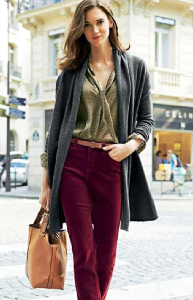 4f4decbc6e r-burgundy-flare-jeans-green-olive-top-blouse-