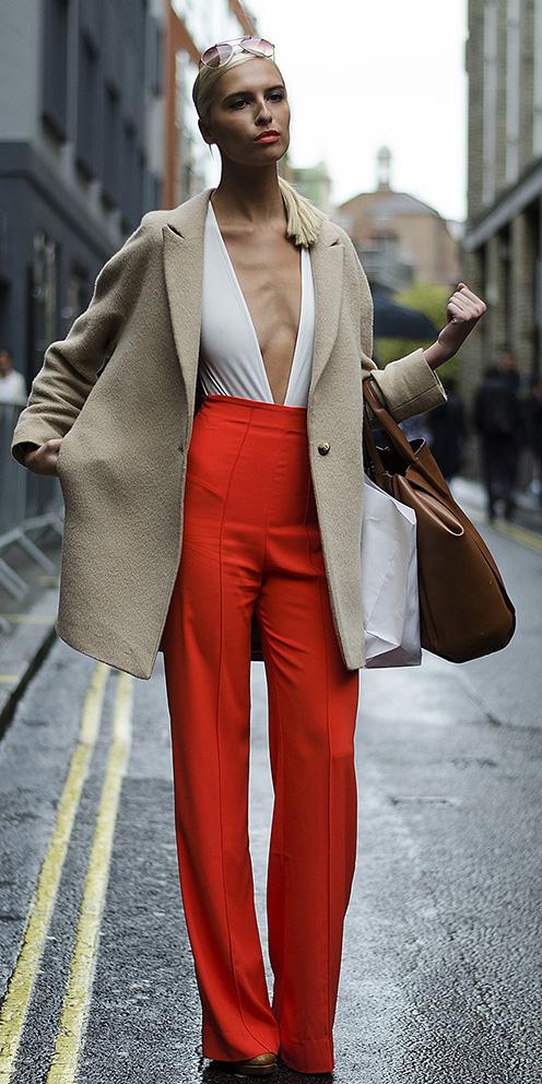 f3e370a7c4 orange-wideleg-pants-white-top-tan-jacket-coat-