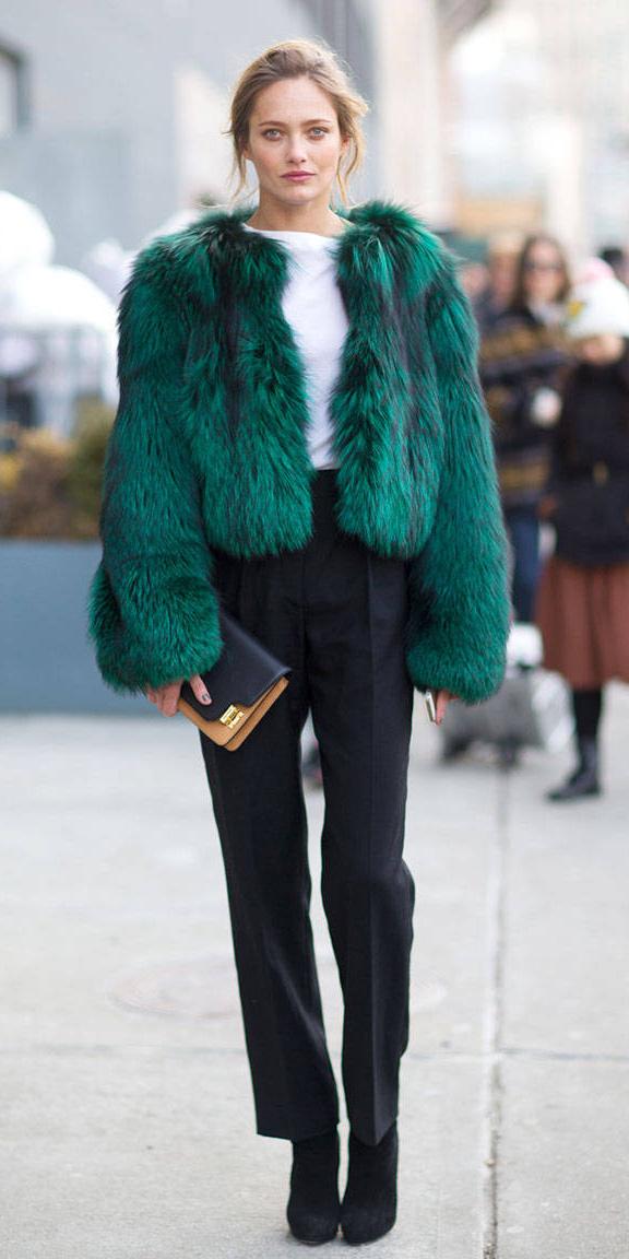 black-slim-pants-white-tee-black-shoe-booties-green-emerald-jacket-coat-fur-fuzz-fall-winter-blonde-lunch.jpg