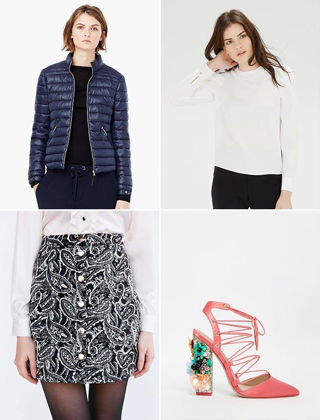 black-mini-skirt-print-white-top-magenta-shoe-pumps-embellished-blue-navy-jacket-puffer-nye-newyearseve-fall-winter-dinner.jpg