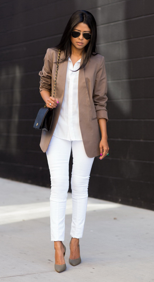 992a02e3cb22 white-skinny-jeans-white-collared-shirt-brown-jacket-