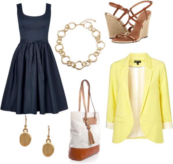 aea30ee617e1 blue-navy-dress-aline-yellow-jacket-blazer-white-