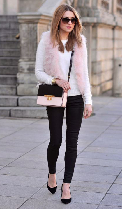 e46a8c872d black-skinny-jeans-white-sweater-pink-light-vest-