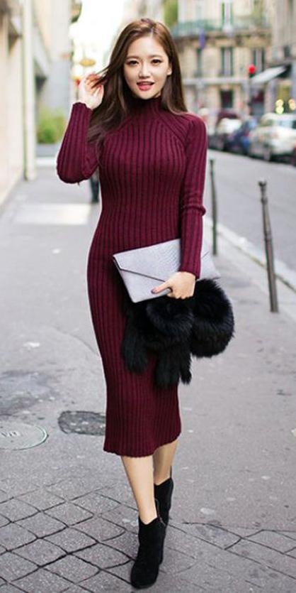 7280489424d5 r-burgundy-dress-a-black-shoe-booties-howtowear-
