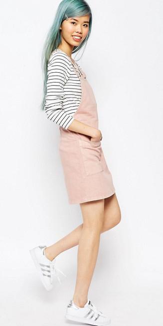 45dcfb24034 pink-light-dress-jumper-white-shoe-sneakers-bluehair-