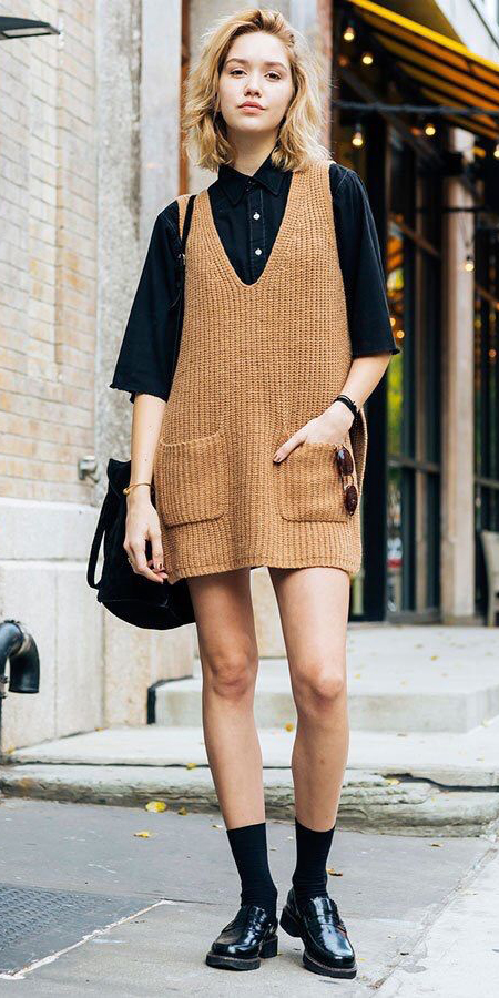 camel-dress-jumper-black-collared-shirt-blonde-lob-socks-black-shoe-loafers-layer-fall-winter-weekend.jpg
