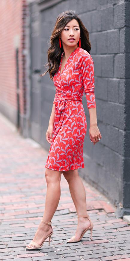 d5723e381e1 red-dress-wrap-print-earrings-brun-tan-shoe-