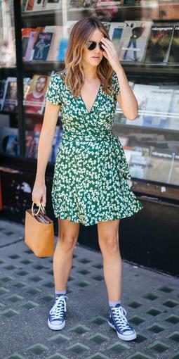 9c69dfd67d green-emerald-dress-wrap-floral-print-cognac-bag-